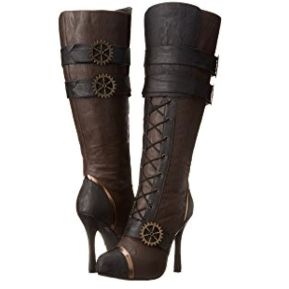 89a2b3655c1 Brown Lace Up boots heels pirate 4 inch knee high